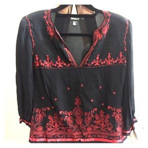 DKNY embroidered silk blouse